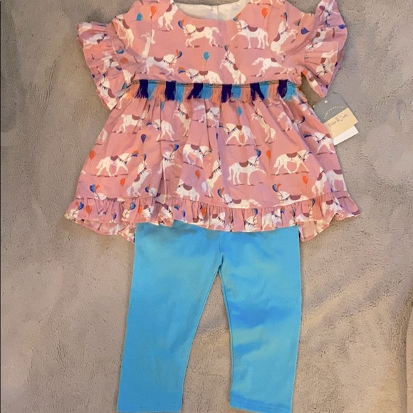 NWT Pippa & Julie 2 Pc Outfit Carousel Horses 4T
